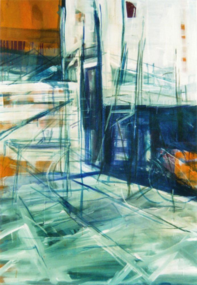 Achterbewogen, 160 x 110 cm,  Acryl en olie op doek, 2003