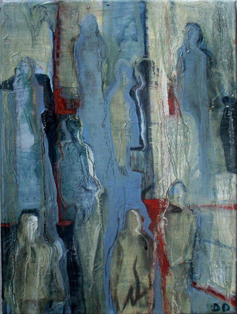 Crowd,  30 x 40 cm, Acryl en olie op doek, 2006