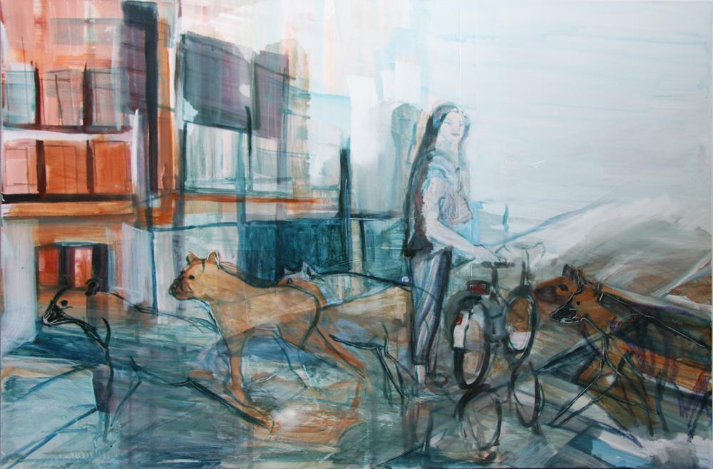 Hyena\'s passing by, 150 x 100 cm, Acryl en olie op doek, 2011