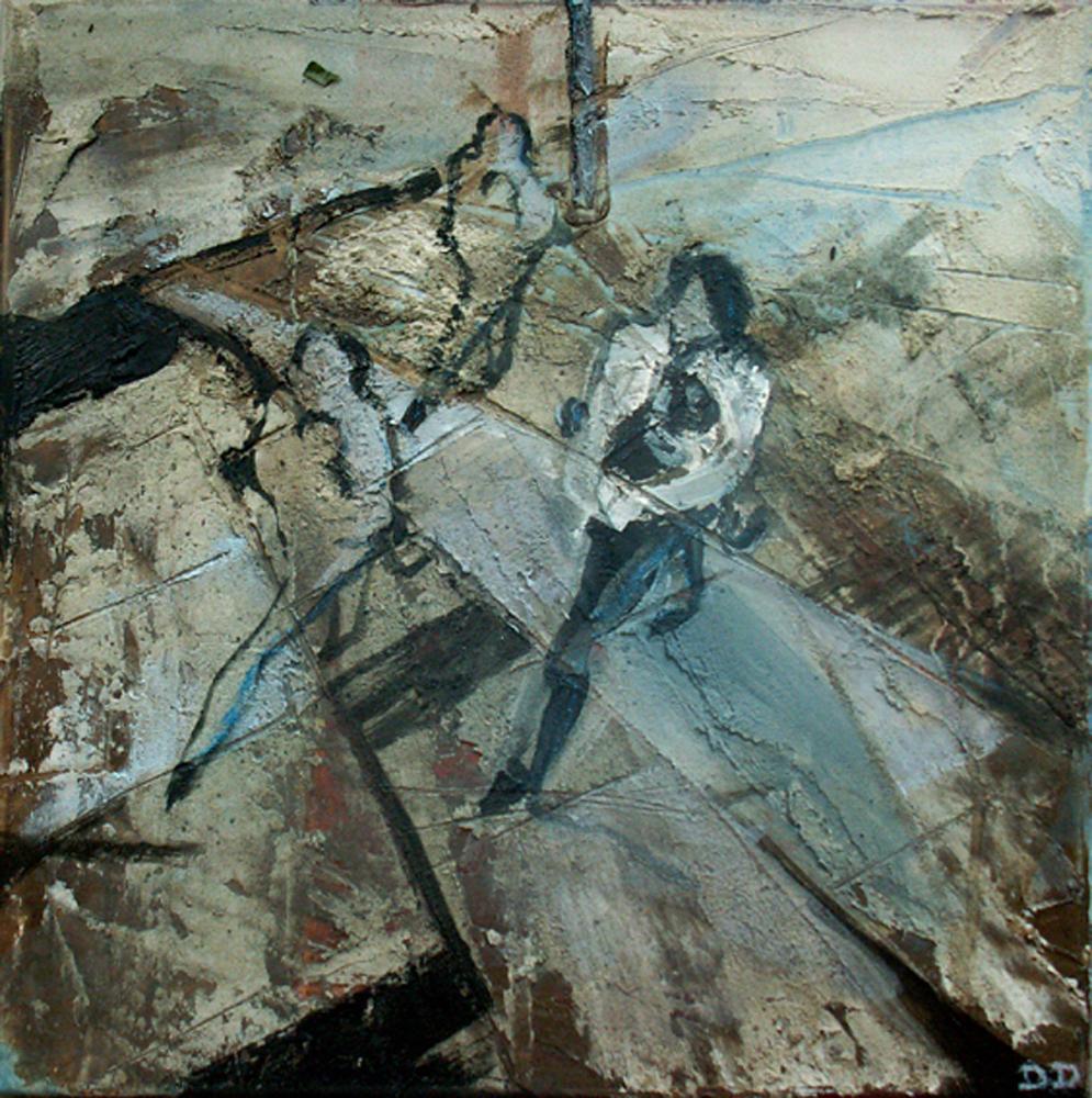 Kind - stress - bla 40 x 40 cm, Acryl en olie op doek, 2005