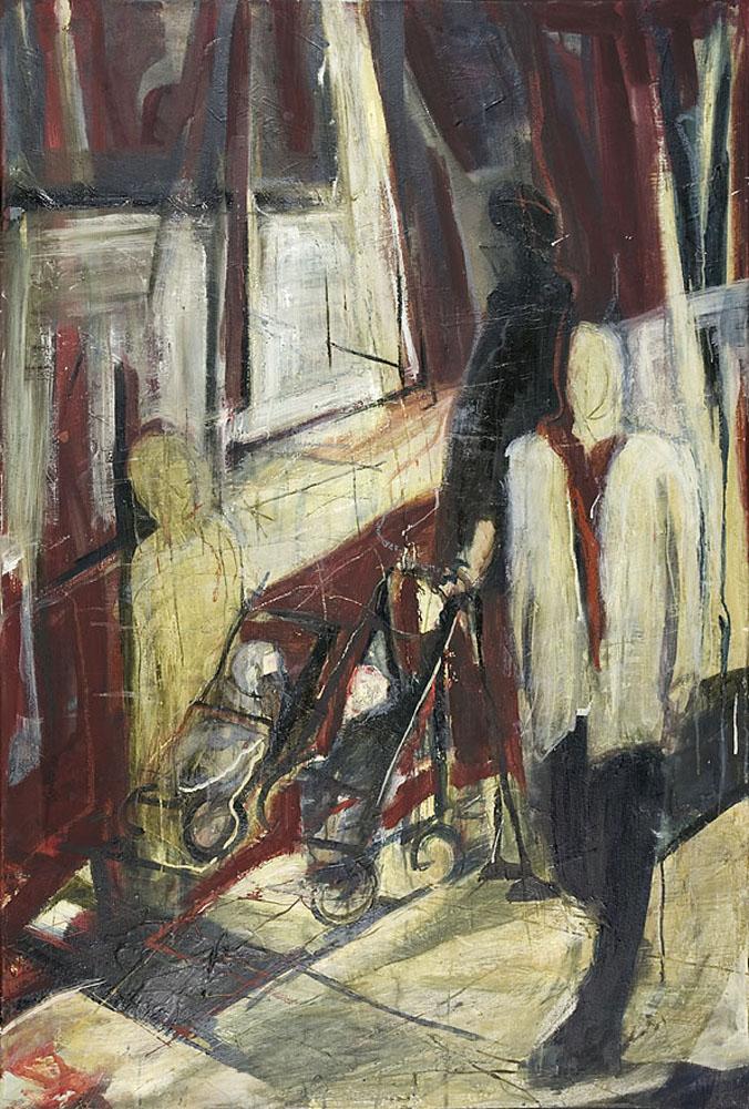 kinderwagens in laren 160 x 110 cm, Acryl en olie op doek, 2004