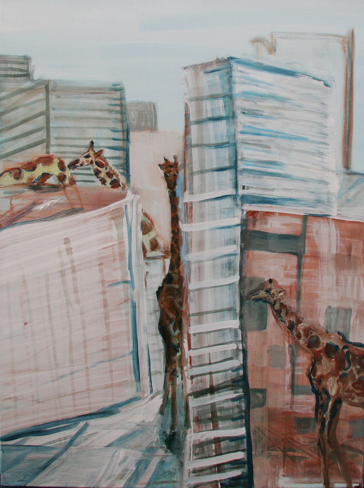 Lost giraffes 80 x 60 cm, Acryl en olie op doek, 2011