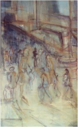 Mensenmassa,  120 x 80 cm,  Acryl en olie op doek, 2003