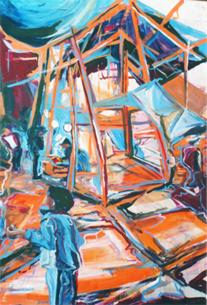 Mercado, 200 x 250, Acryl op hout, 2002 In opdracht, Cusco, Peru, Cusco