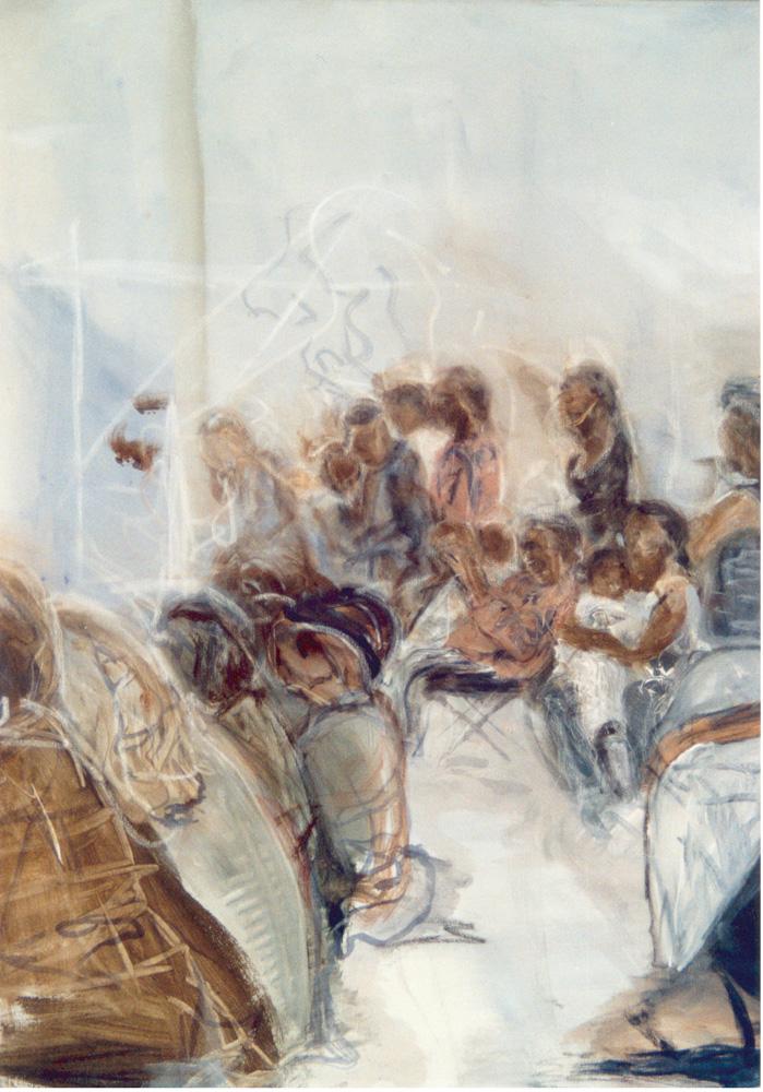 Optreden Oakland, 100 x 100 cm, Acryl en olie op doek, 2003