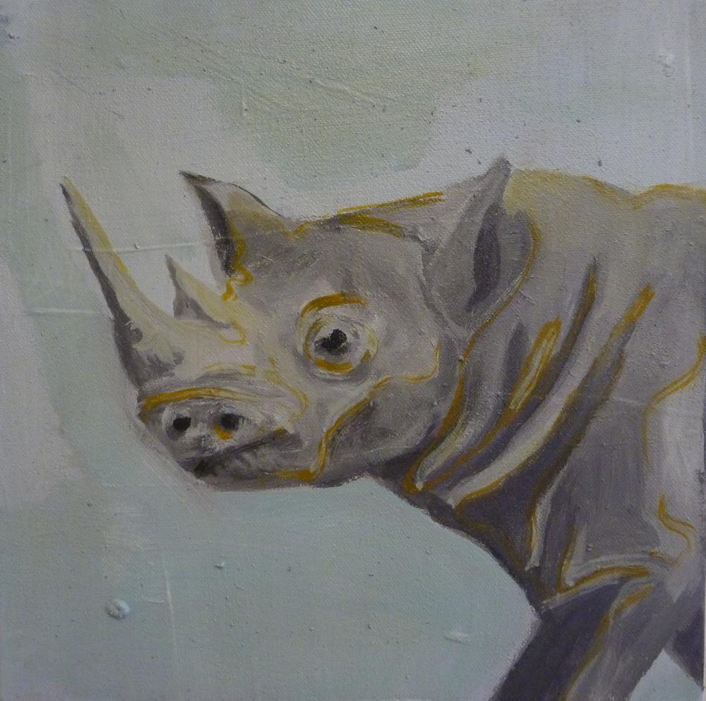 Rhino, 50 x 50 cm, Acryl en olie op doek, 2011