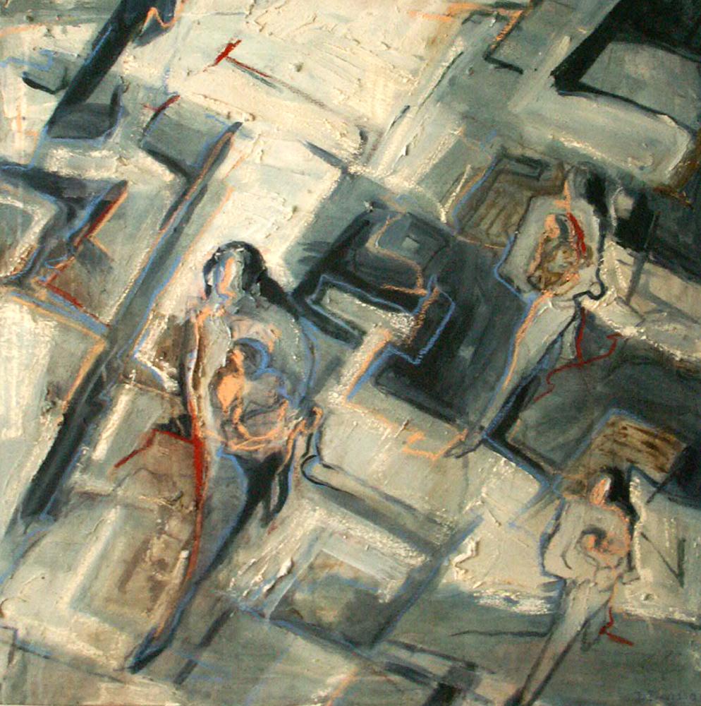 Blaricum schoolplein 80 x 80 cm, Acryl en olie op doek, 2005