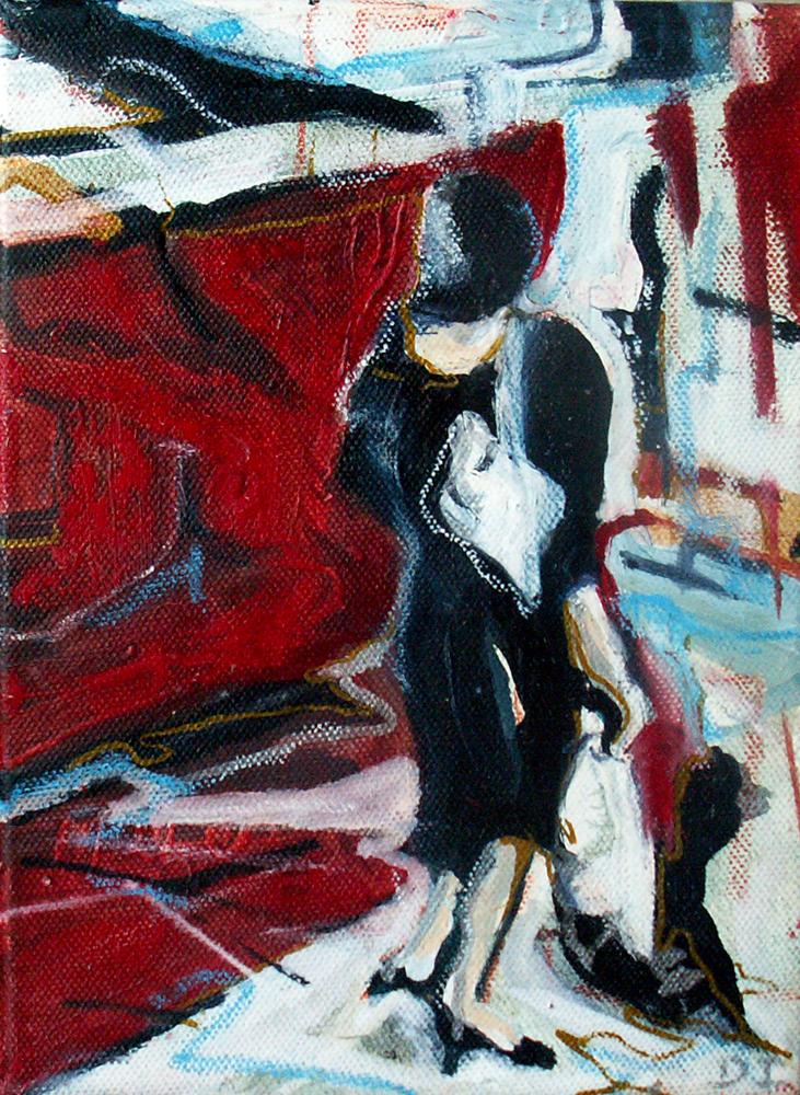 Shoppen in Bla, 27x 15 cm, Acryl en olie op doek, 2005