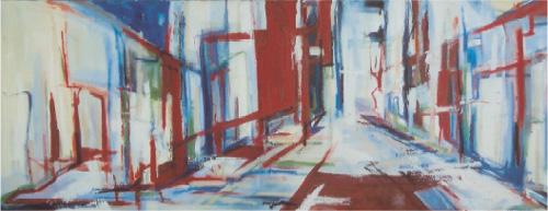 Spiegelbeeld, 140 x 60, Acryl en olie op doek, 2004