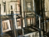 Achter atelier, 100 x 100 cm,  Acryl en olie op doek, 2006