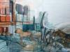 Hyena's passing by, 150 x 100 cm, Acryl en olie op doek, 2011