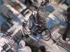 Man met fiets, Zeedijk, Mensenmassa,  100 x 100 cm,  Acryl en olie op doek, 2005