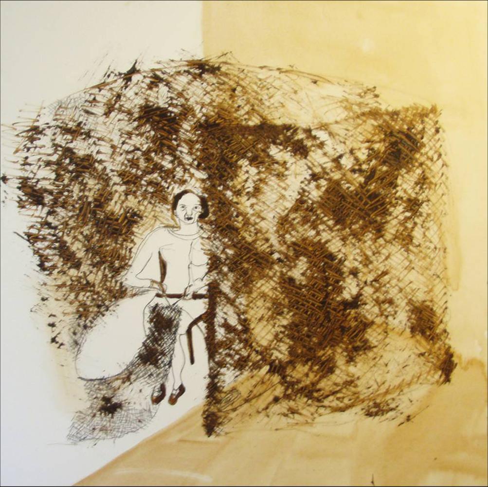 Verstikking, 100 x 100 cm,  Acryl en olie op doek, 2008