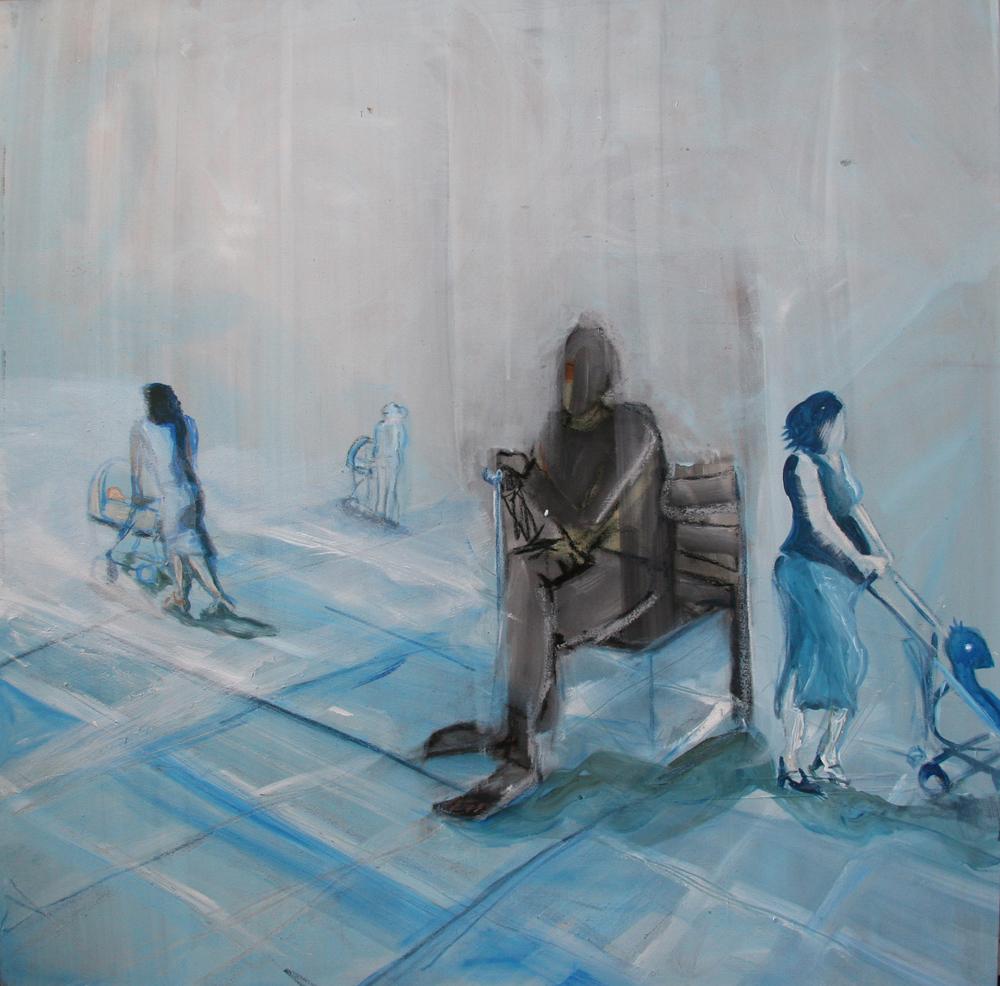 Vervliegen, 100 x 100 cm, Acryl en olie op doek, 2012