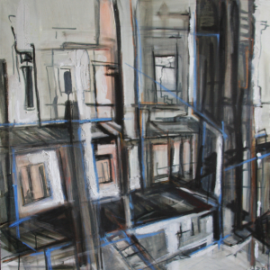 Achter Atelier 100 x 100 cm 2008, VERKOCHT