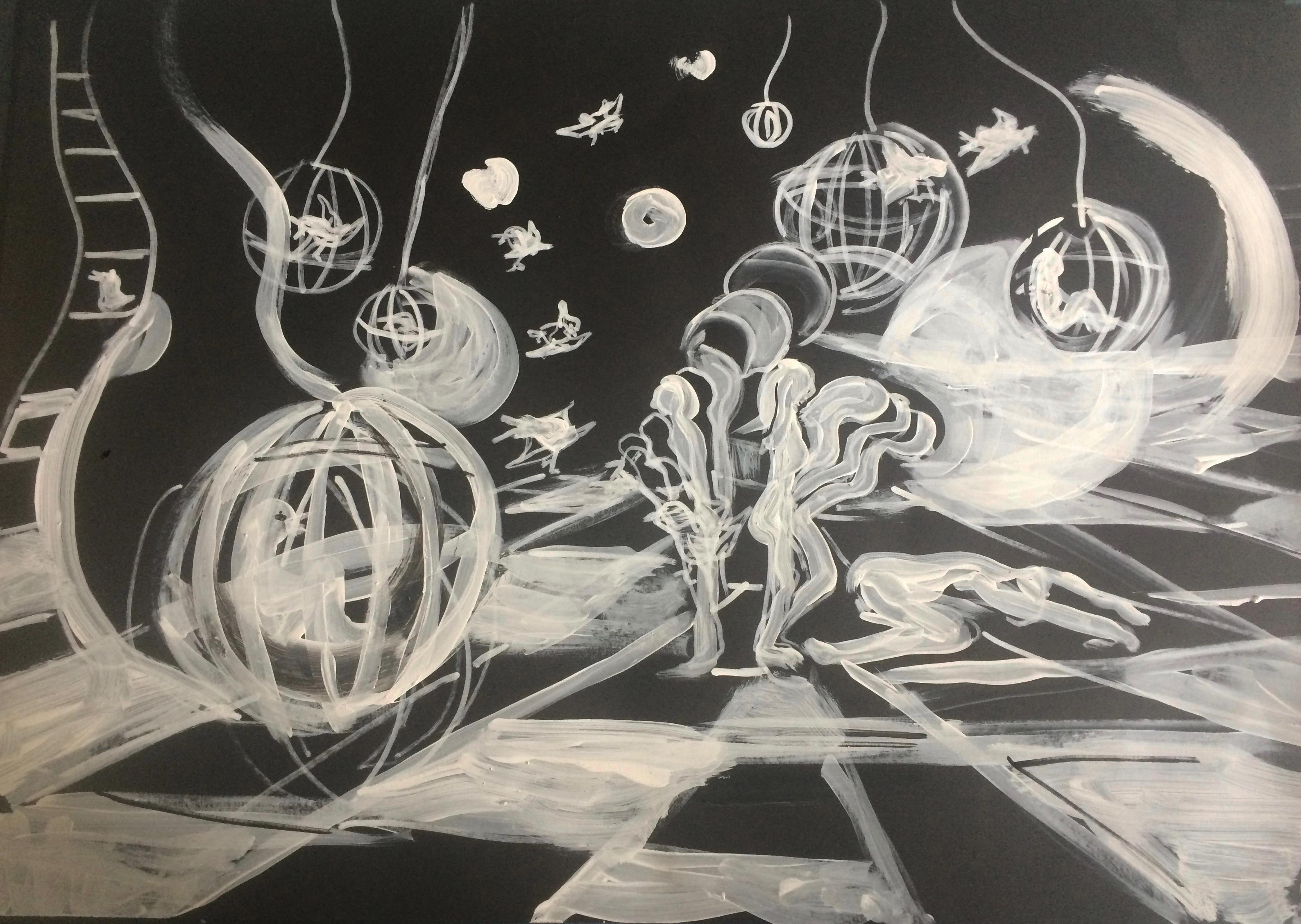 tekening 6 Nacht van Kunst en Kennis 2016 Live Animatie in het Museum Volkenkunde Verkocht